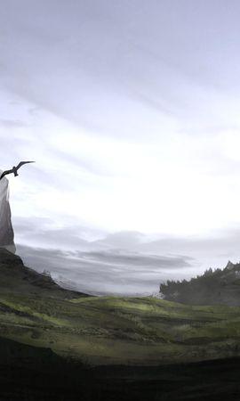 76631 baixar papel de parede As Rochas, Rochas, Fantasia, Névoa, Nevoeiro, Arte, Aves - protetores de tela e imagens gratuitamente