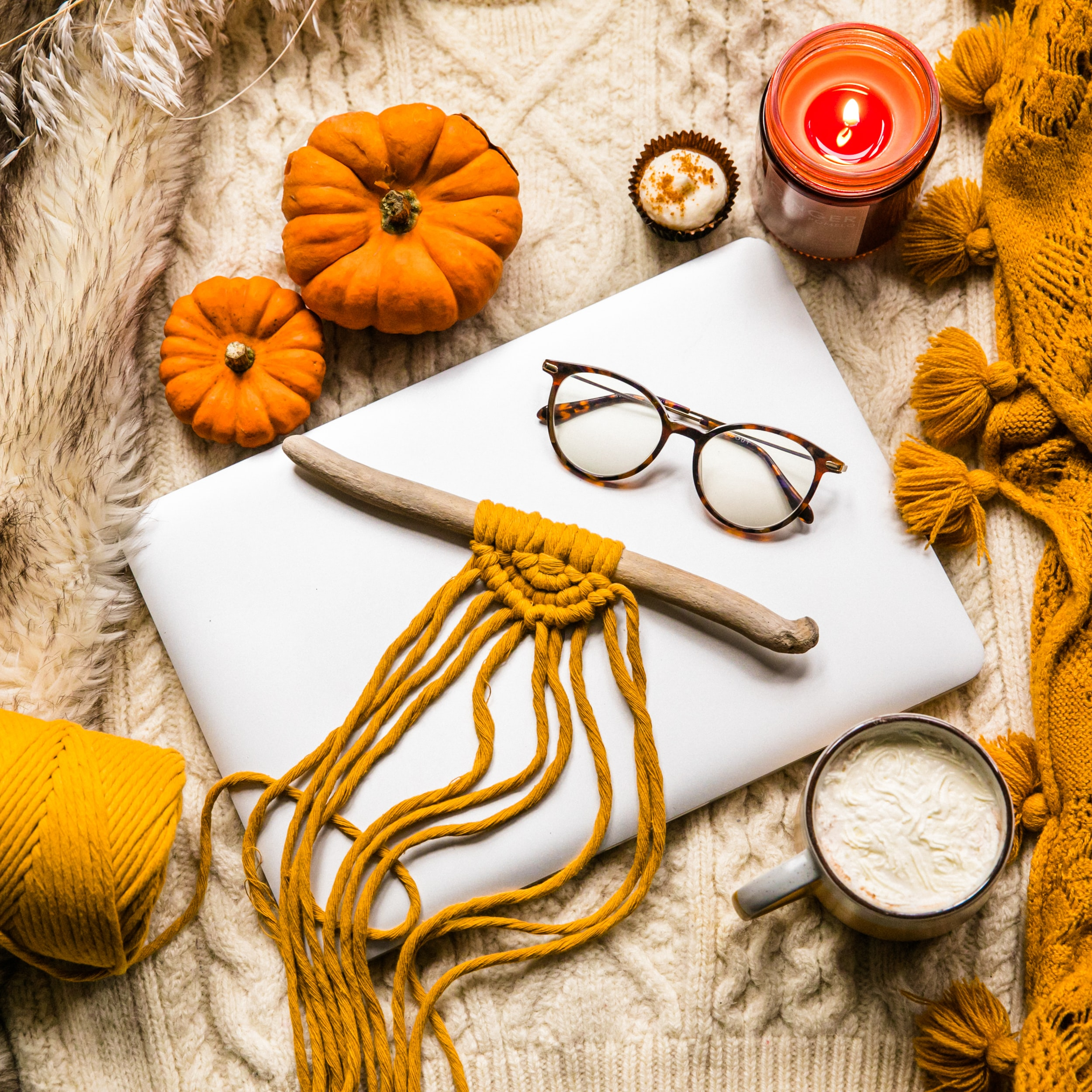 122161 Screensavers and Wallpapers Pumpkin for phone. Download Pumpkin, Miscellanea, Miscellaneous, Threads, Thread, Notebook, Glasses, Spectacles, Laptop, Knitted pictures for free