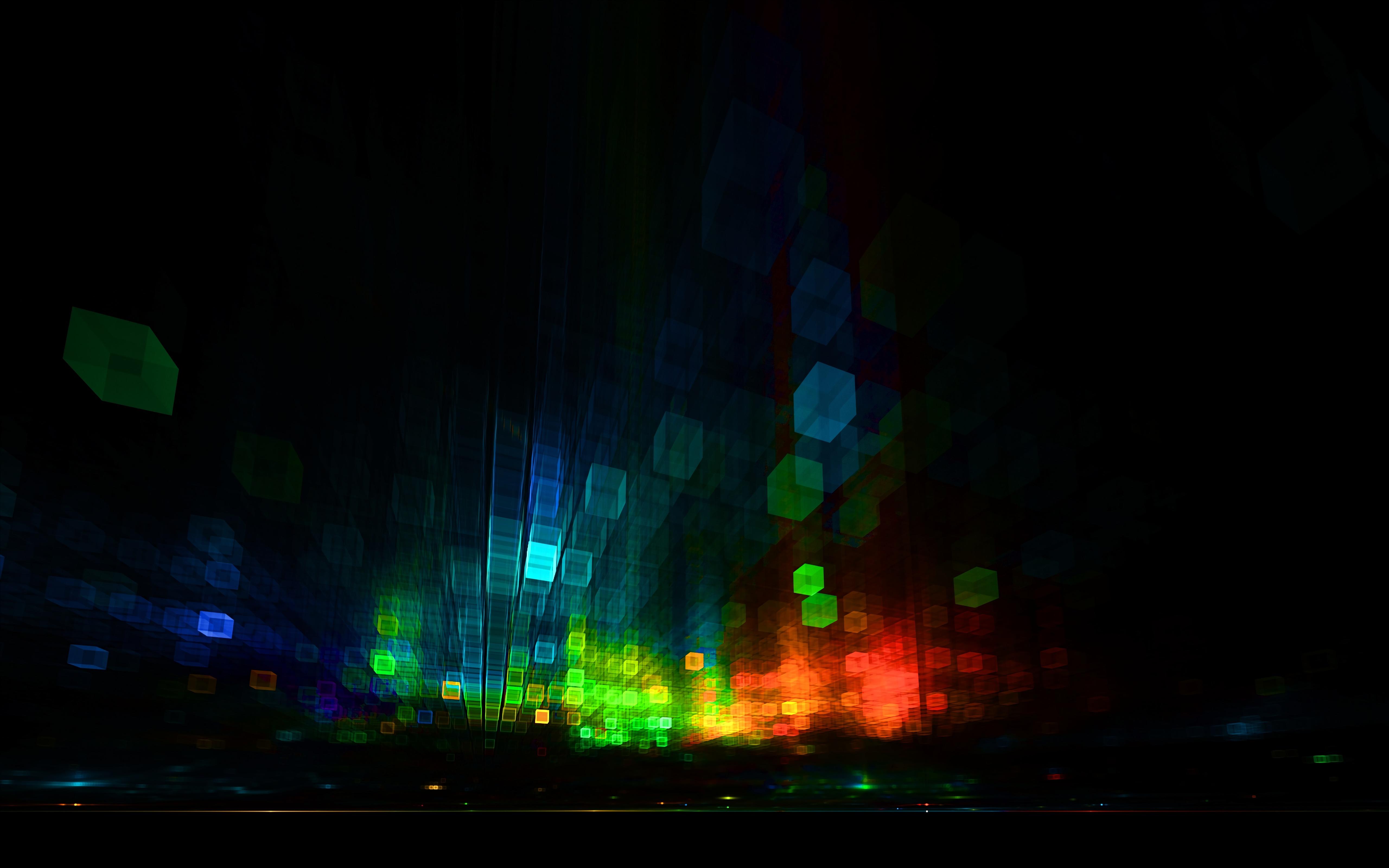 124513 скачать обои Темные, Кубы, Блики, Размытость, Разноцветный, Темный - заставки и картинки бесплатно
