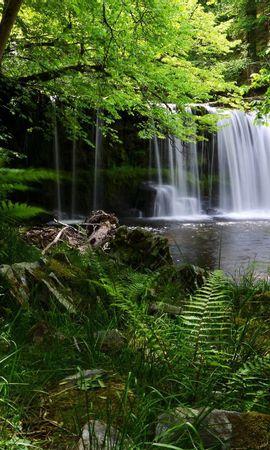 132450 скачать обои Водопад, Трава, Природа, Тень - заставки и картинки бесплатно