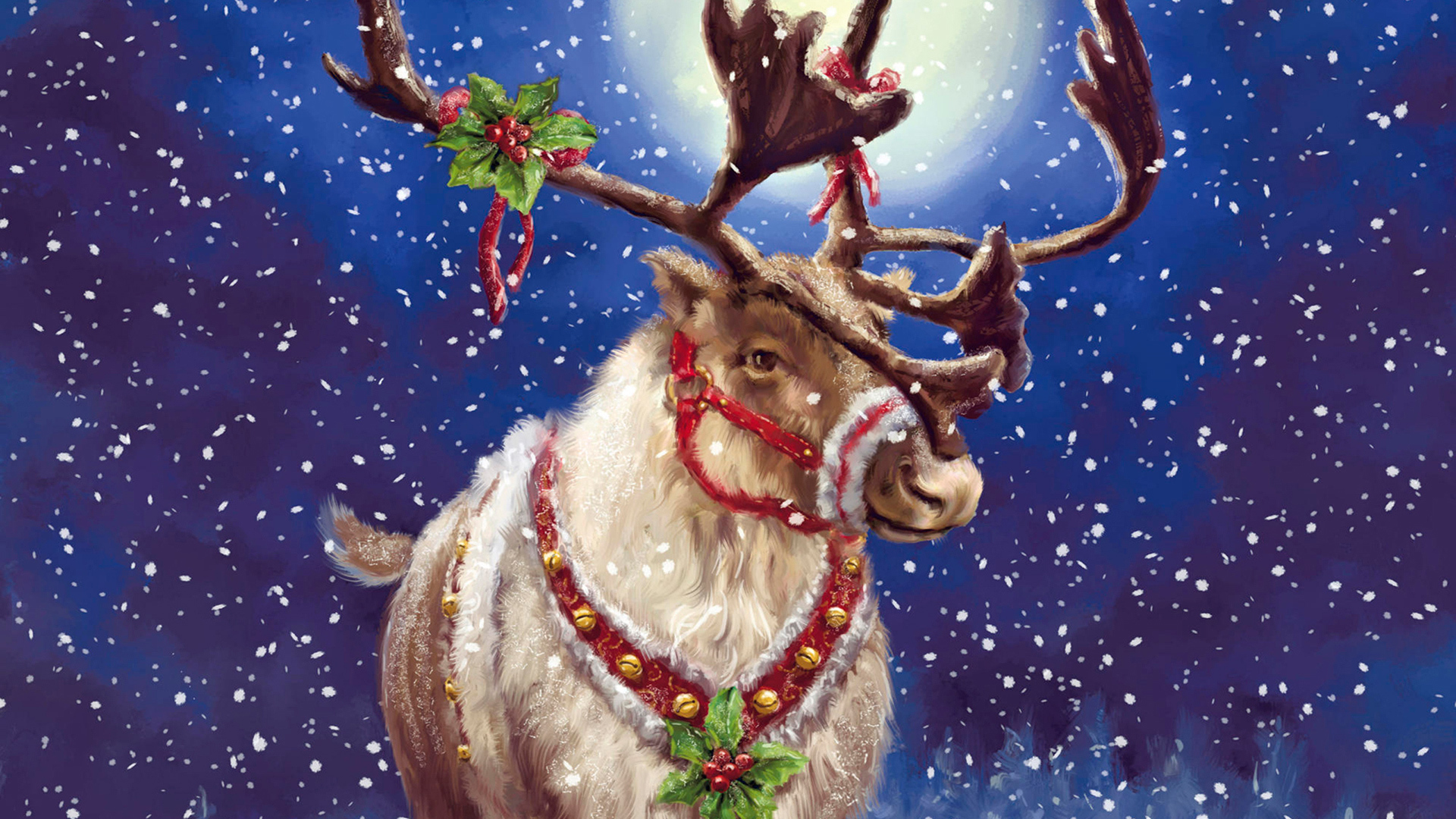 21797 скачать обои Праздники, Животные, Снег, Рождество (Christmas, Xmas), Олени, Рисунки - заставки и картинки бесплатно