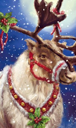 21797 download wallpaper Holidays, Animals, Snow, Christmas, Xmas, Deers, Pictures screensavers and pictures for free