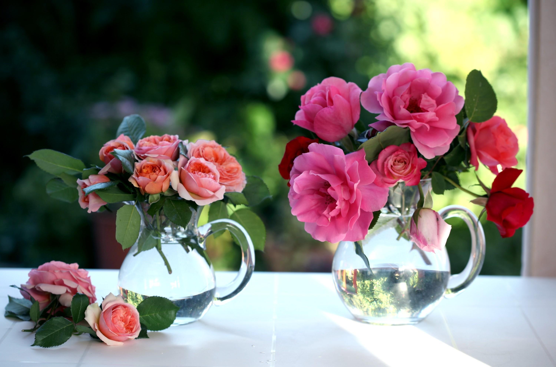 137536 télécharger le fond d'écran Fleurs, Cruches, La Fenêtre, Fenêtre, Roses, Bouquets - économiseurs d'écran et images gratuitement