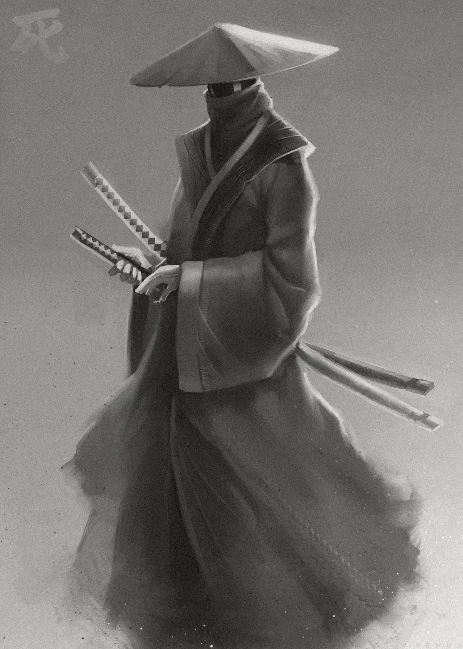107703 baixar papel de parede Samurai, Katanas, Katana, Guerreiro, Arte, Preto E Branco, Preto-E-Branco - protetores de tela e imagens gratuitamente