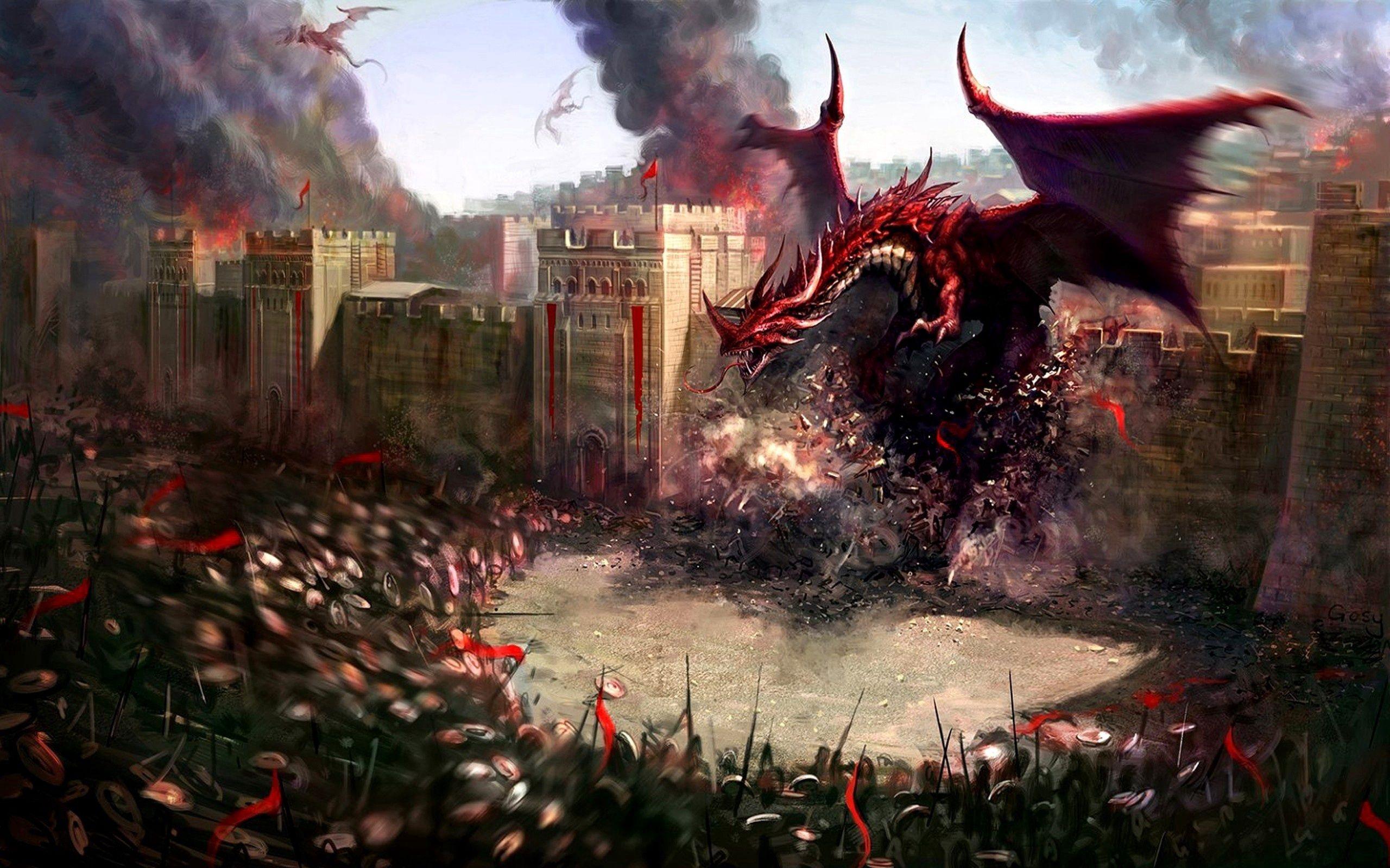 157286 Hintergrundbild herunterladen Fantasie, Dragons, Stadt, Wand, Krieger, Zerstörung, Schutz - Bildschirmschoner und Bilder kostenlos