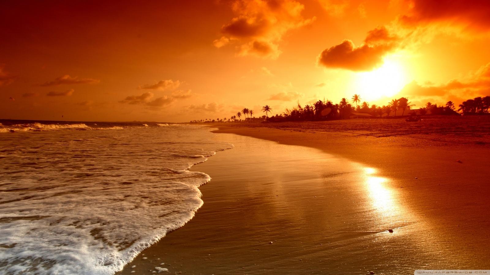16549 скачать обои Пейзаж, Закат, Море, Пляж - заставки и картинки бесплатно