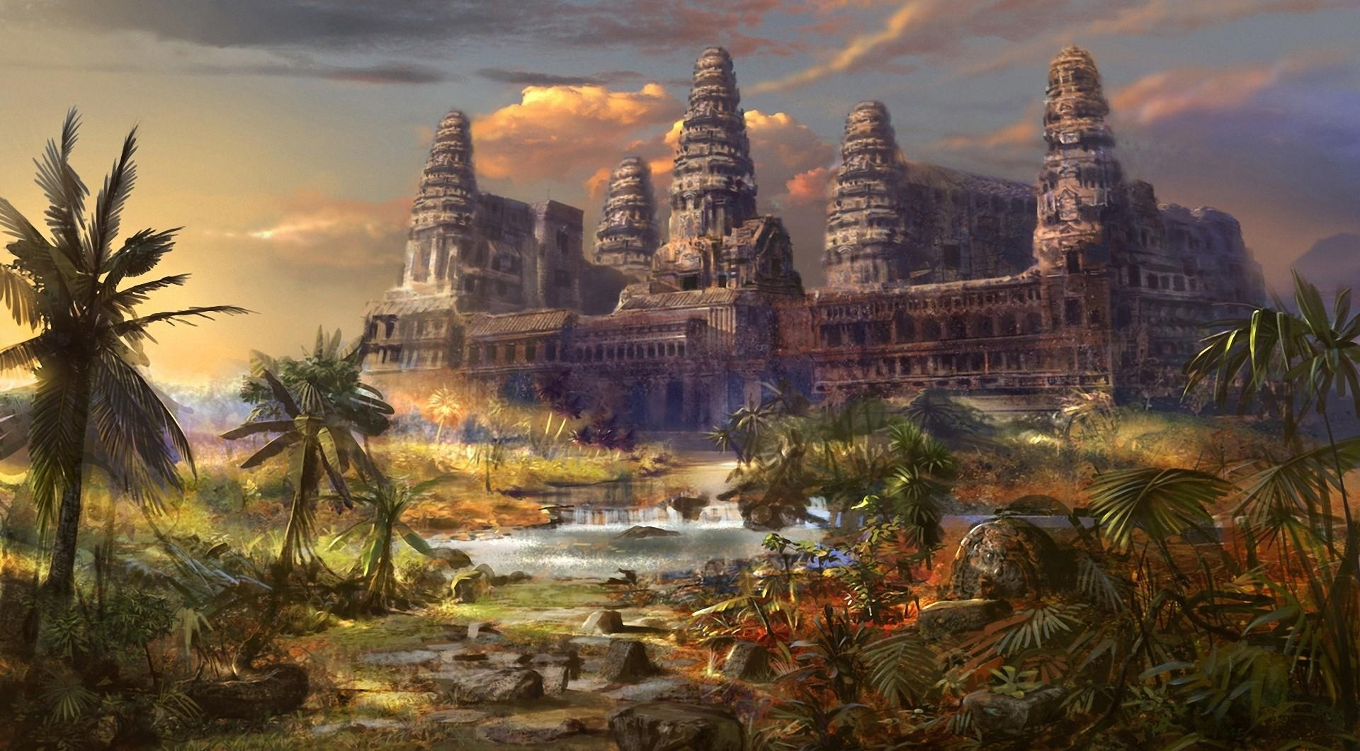 58306 download wallpaper Fantasy, Temple, Destruction, Another World, Different World, Palms screensavers and pictures for free