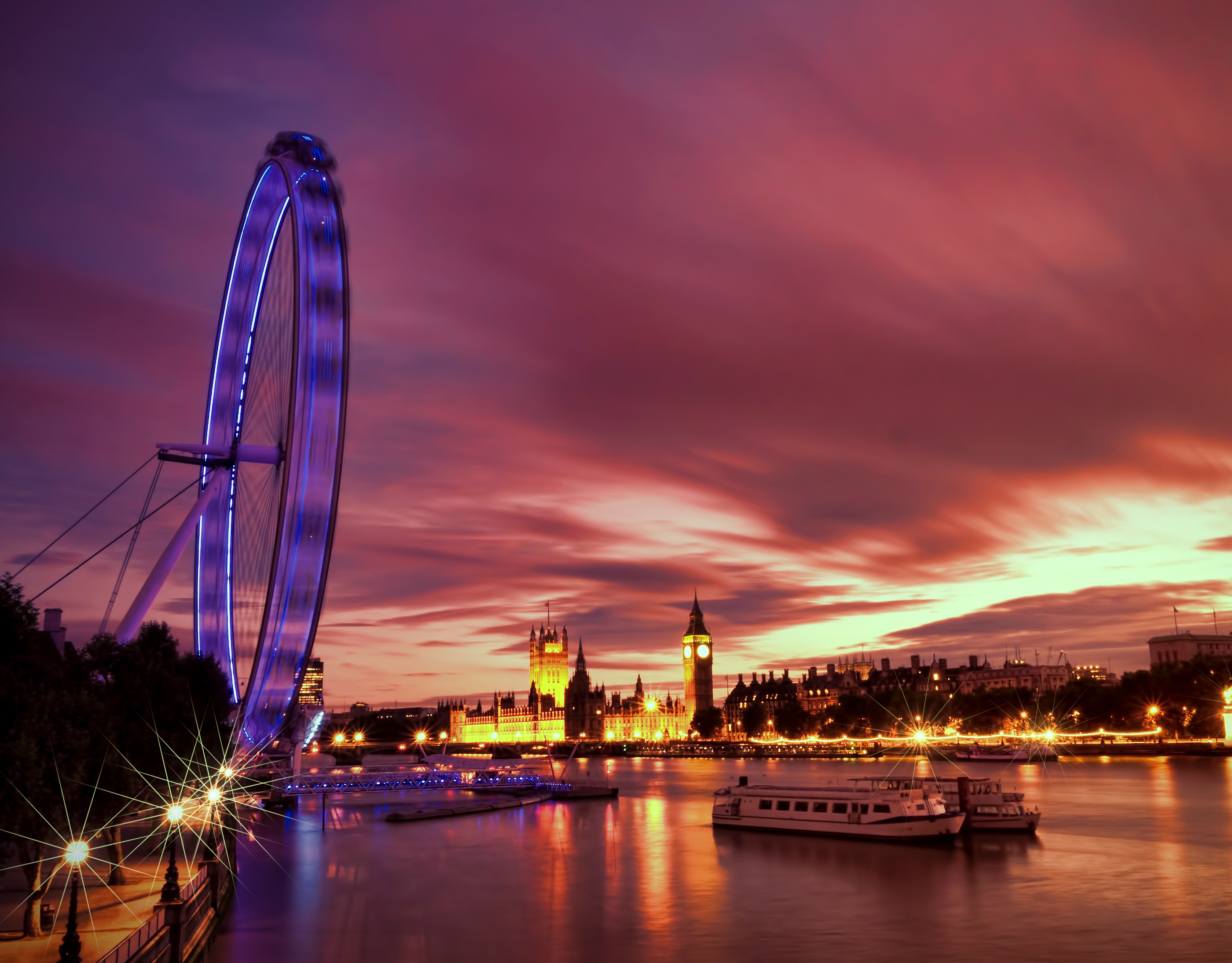 127316 Screensavers and Wallpapers London for phone. Download Cities, Rivers, Great Britain, Architecture, London, Lights, Backlight, Illumination, Evening, Ferris Wheel, Embankment, Quay, United Kingdom, England, Capital, Thames pictures for free