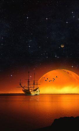 73726 Заставки и Обои Разное на телефон. Скачать Разное, Корабль, Звездное Небо, Ночь, Море, Фотошоп картинки бесплатно