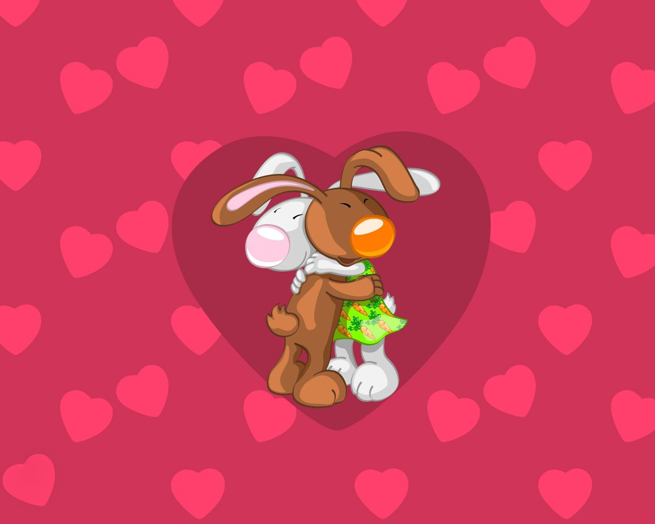 70374 Screensavers and Wallpapers Rabbits for phone. Download Rabbits, Pink, Love, Couple, Pair, Embrace pictures for free