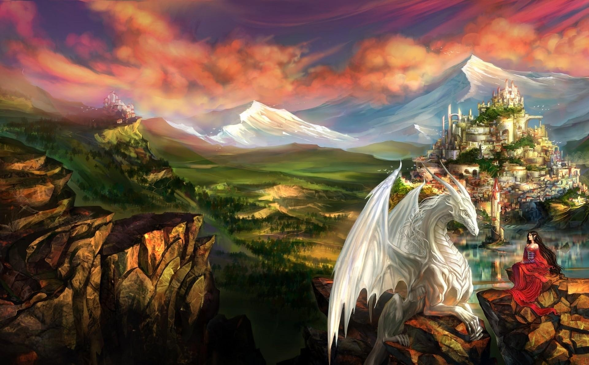 100777 download wallpaper Fantasy, Dragon, Girl, Elf, Friendship, Lock, Mountains screensavers and pictures for free