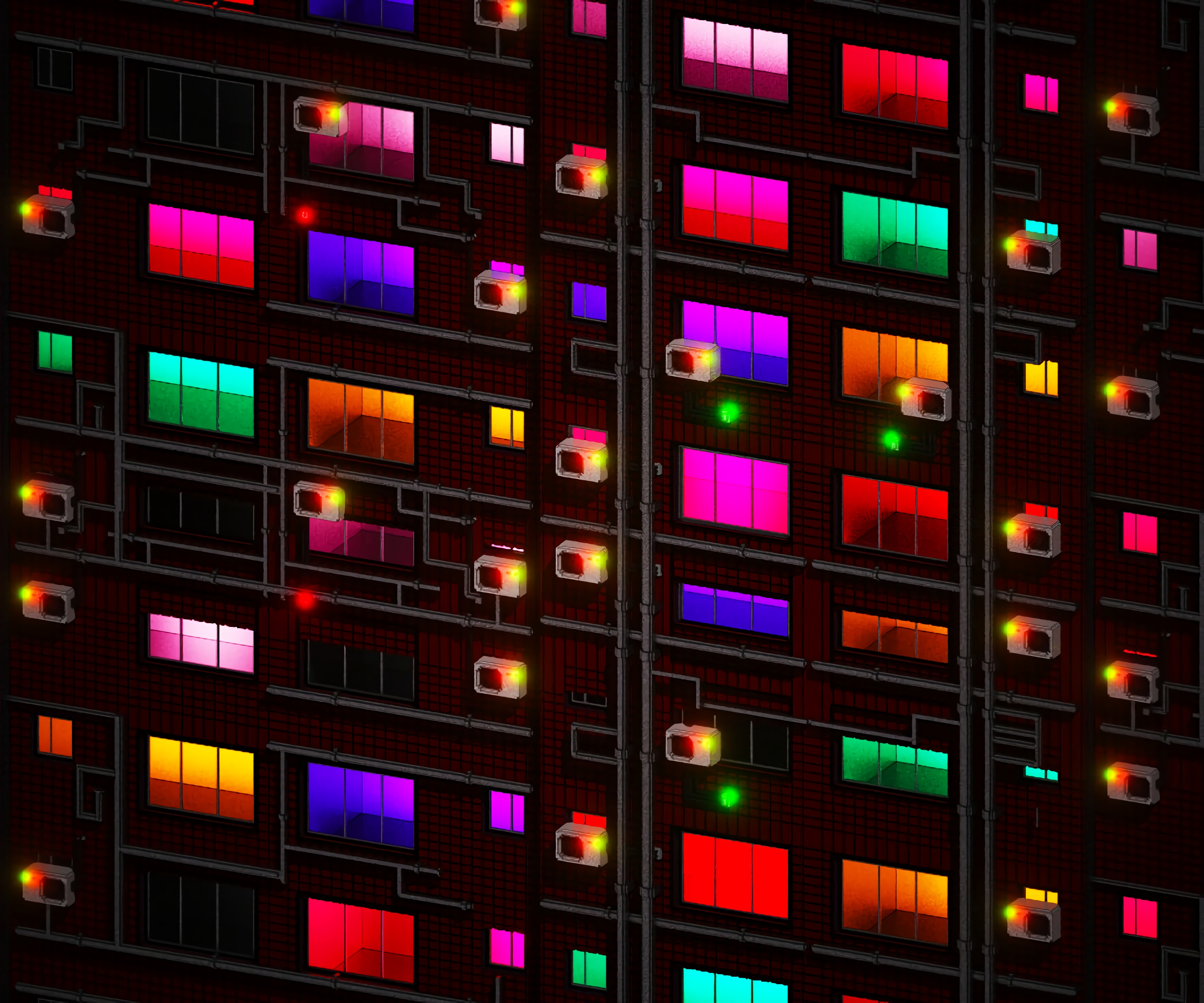 143435 Screensavers and Wallpapers Windows for phone. Download Windows, Building, Shine, Light, Miscellanea, Miscellaneous, Multicolored, Motley, Facade pictures for free