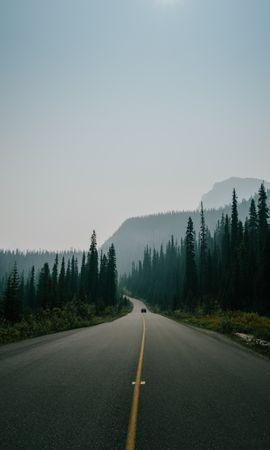 108359壁紙のダウンロード自然, 道路, 道, マークアップ, 霧, トラフィック, 運動, 山脈-スクリーンセーバーと写真を無料で