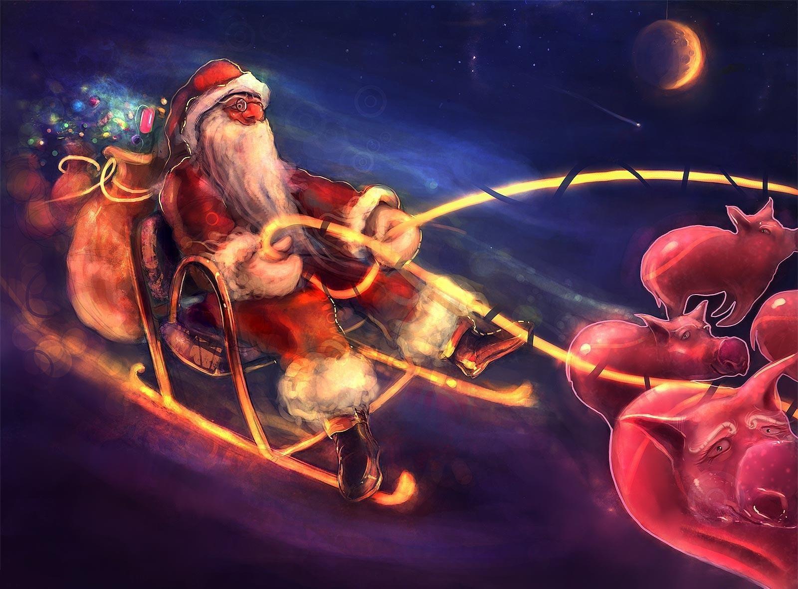 154364 descargar fondo de pantalla Vacaciones, Papá Noel, Noche, Navidad, Presenta, Regalos, Pigs, Trineo, Vuelo: protectores de pantalla e imágenes gratis