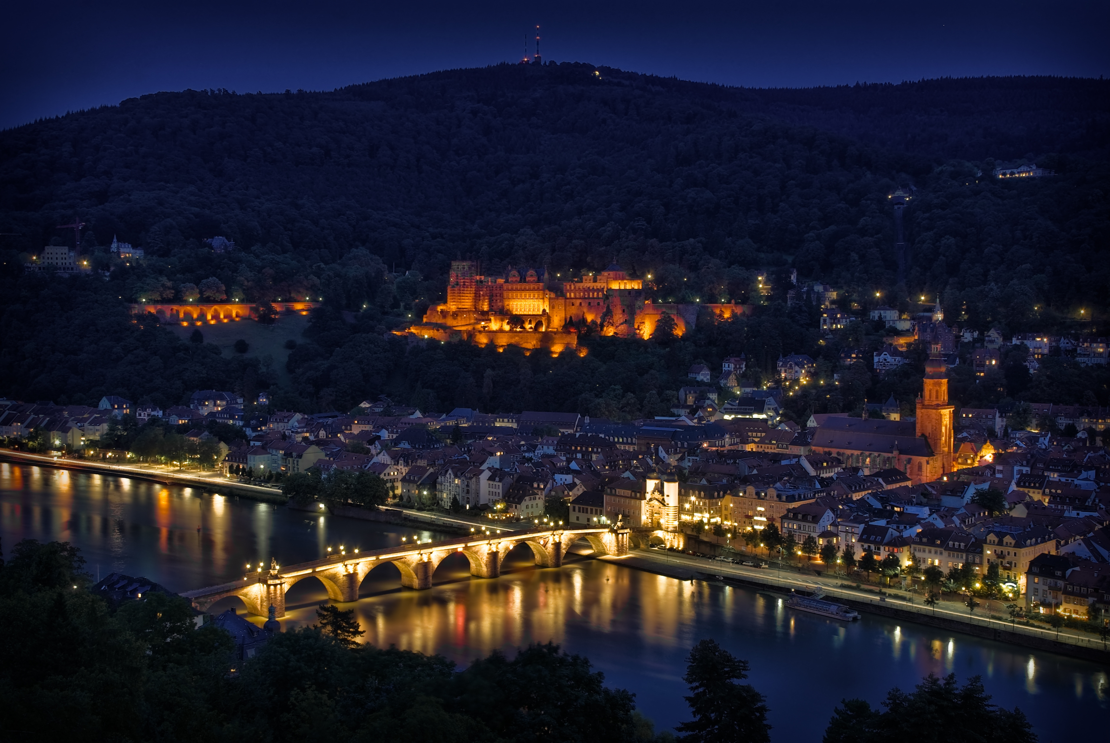 125847 download wallpaper Germany, Heidelberg, Night, Lights, Backlight, Illumination, Bridge, Rivers, Reflection, View, Height, Panorama, Cities screensavers and pictures for free