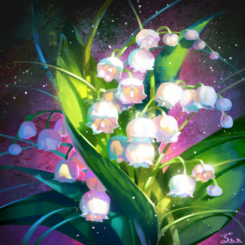 115168 Hintergrundbild herunterladen Blumen, Kunst, Maiglöckchen, Strauß, Bouquet - Bildschirmschoner und Bilder kostenlos