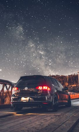 109070 Screensavers and Wallpapers Volkswagen for phone. Download Cars, Volkswagen, Car, Back View, Rear View, Headlights, Lights, Starry Sky pictures for free