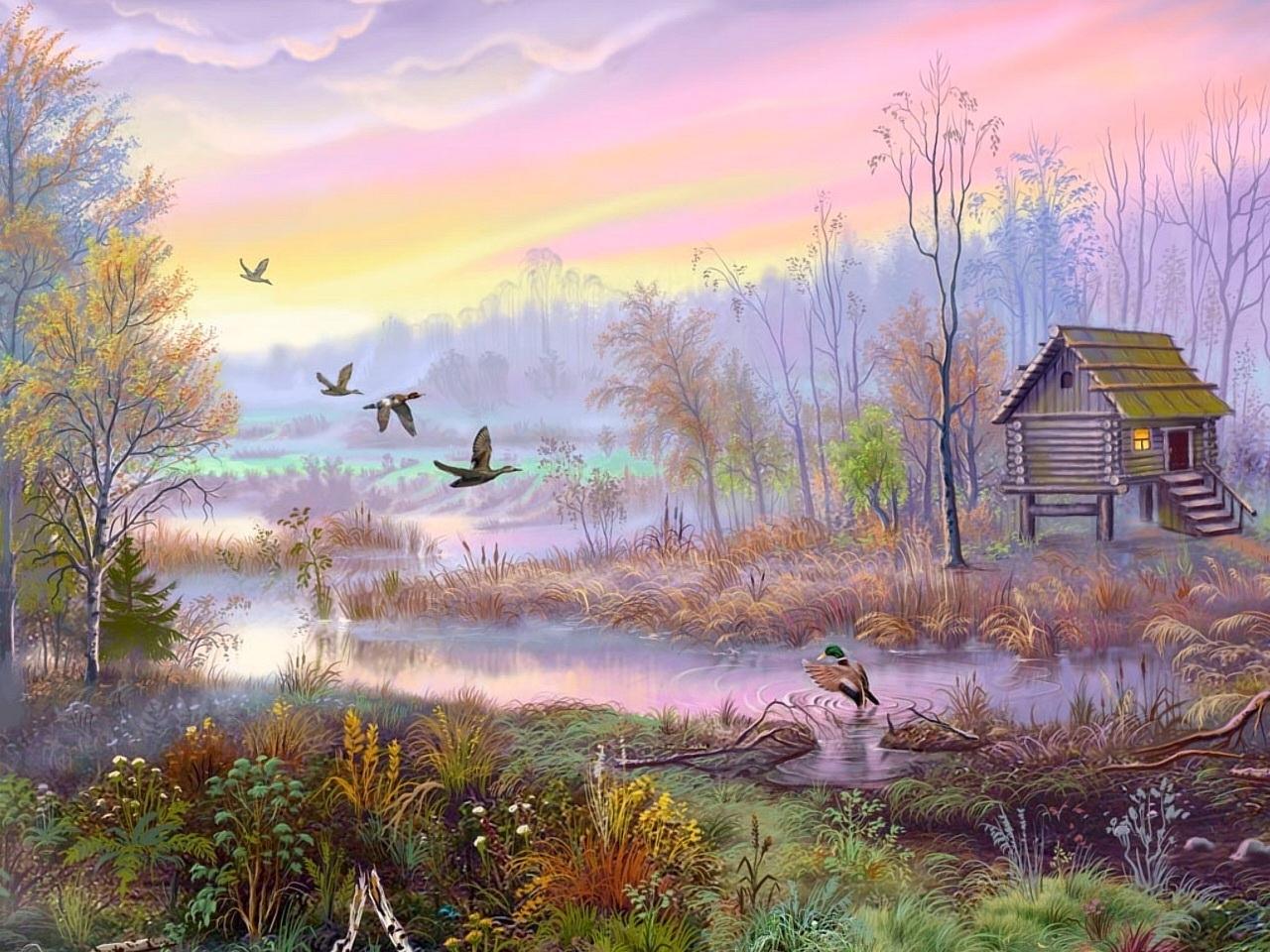 23705 скачать обои Пейзаж, Птицы, Дома, Река, Деревья, Утки, Рисунки - заставки и картинки бесплатно