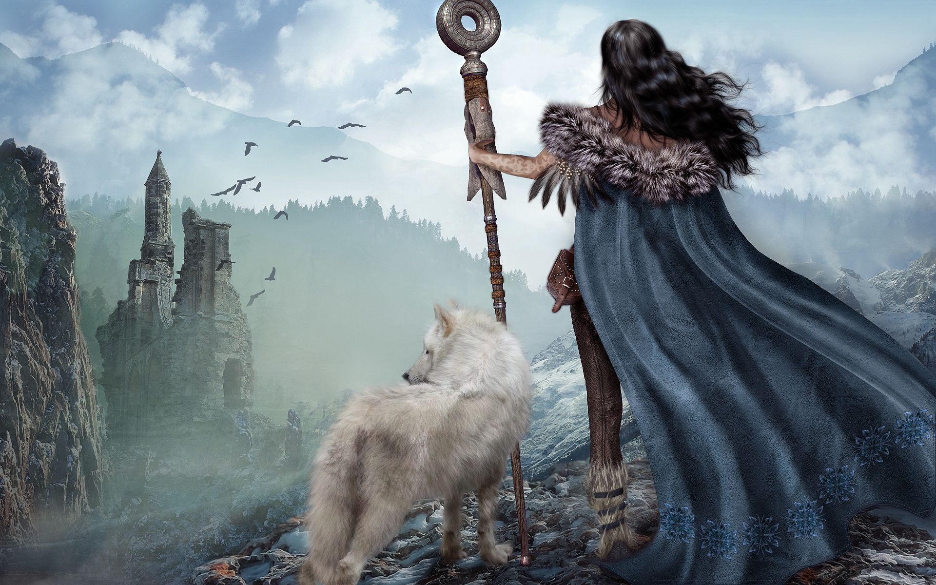 79826 download wallpaper Fantasy, Girl, Warrior, Wolf, Ruins, Mountains screensavers and pictures for free