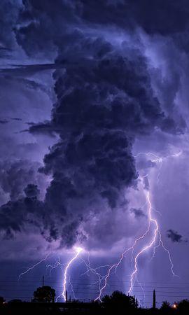 21932 скачать обои Пейзаж, Небо, Ночь, Облака, Молнии - заставки и картинки бесплатно