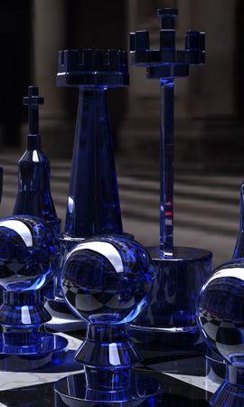 142259 скачать обои 3D, Синий, Стекло, Доска, Форма, Шахматы - заставки и картинки бесплатно