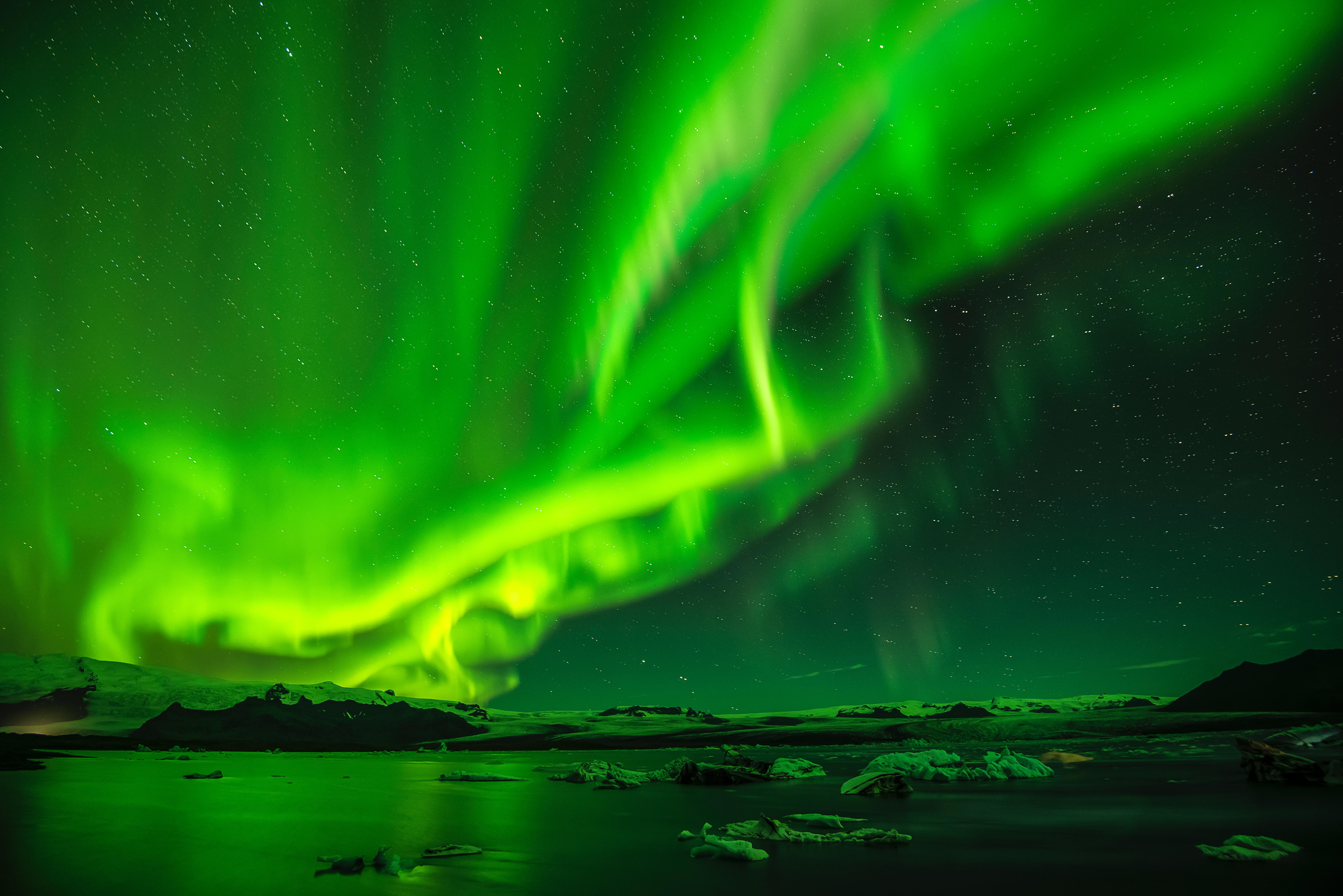 94219 скачать обои Северное Сияние, Зеленый, Природа, Небо, Ночь, Звездное Небо, Аврора - заставки и картинки бесплатно