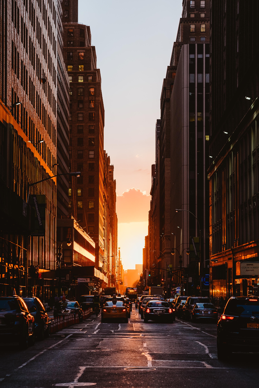 71337 скачать обои Город, Закат, Нью-Йорк, Здания, Автомобили, Города - заставки и картинки бесплатно