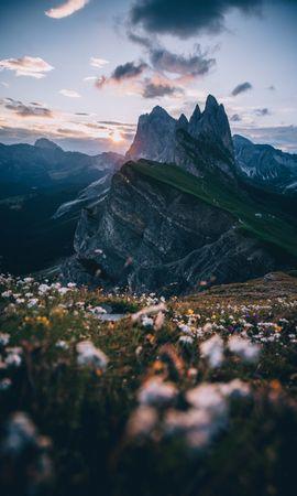 101878 скачать обои Природа, Альпы, Вершины, Лужайка, Небо, Горы, Пейзаж - заставки и картинки бесплатно