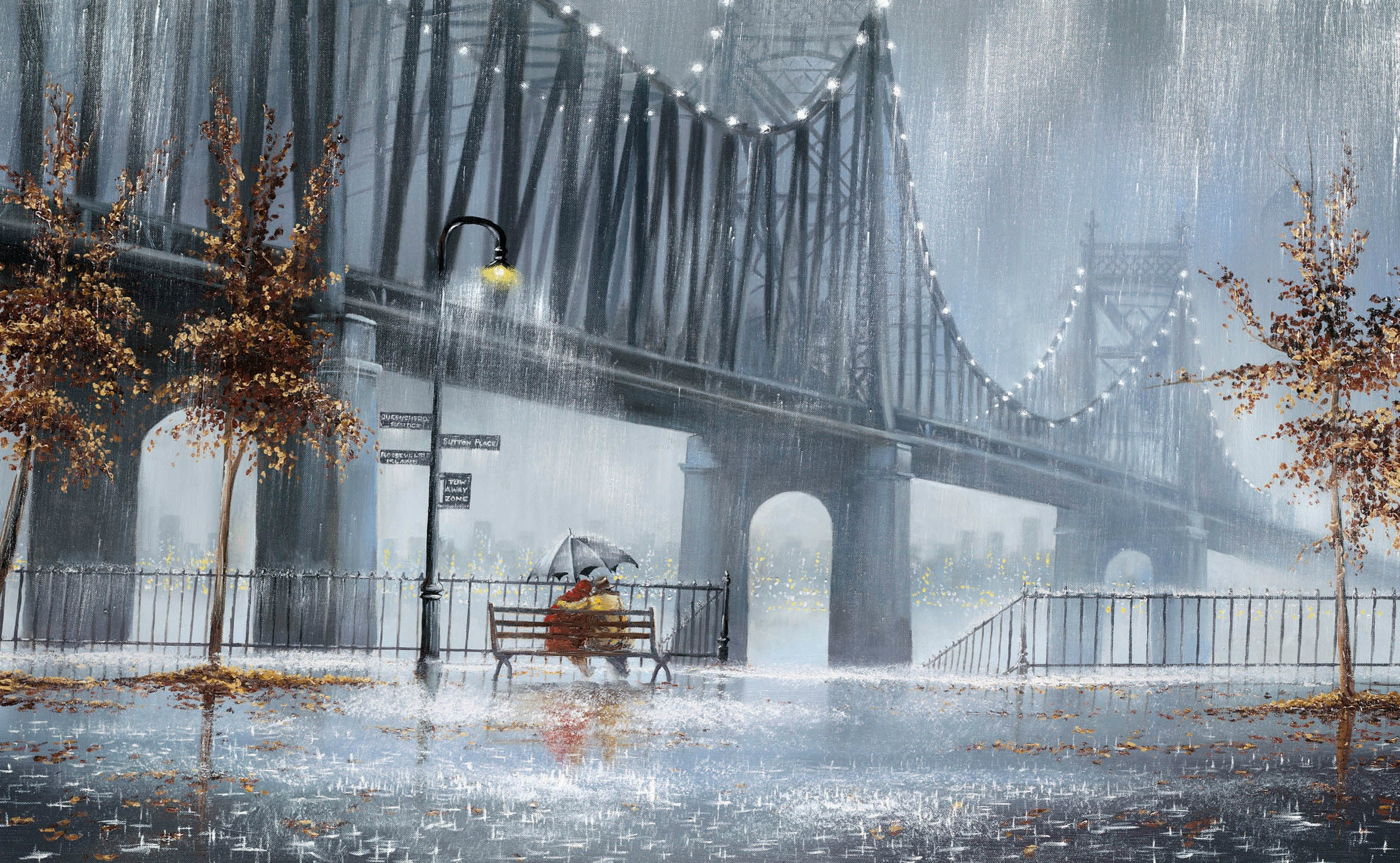 79859 Screensavers and Wallpapers Bench for phone. Download Trees, Rain, Lights, Miscellanea, Miscellaneous, Couple, Pair, Lanterns, Bench, Umbrella, Street, Two pictures for free