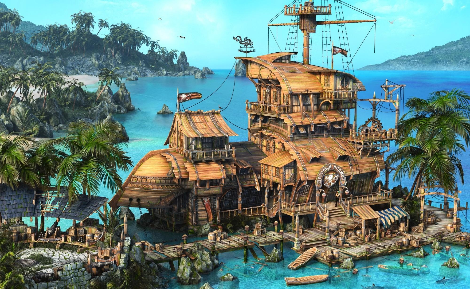 63705 download wallpaper Fantasy, Island, Ship, House, Ocean, Palms screensavers and pictures for free