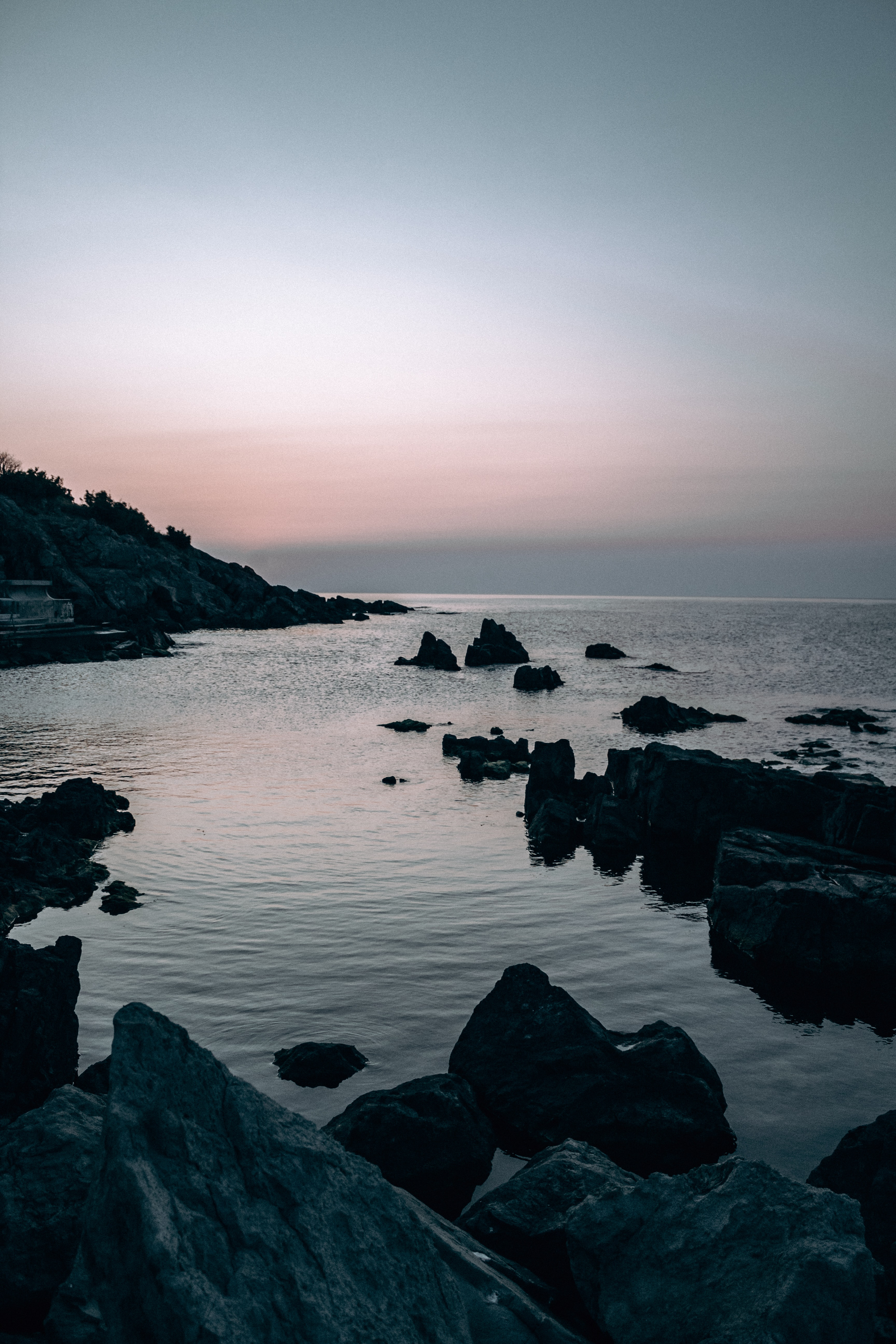 127020 download wallpaper Nature, Sea, Rocks, Stones, Dusk, Twilight, Evening screensavers and pictures for free