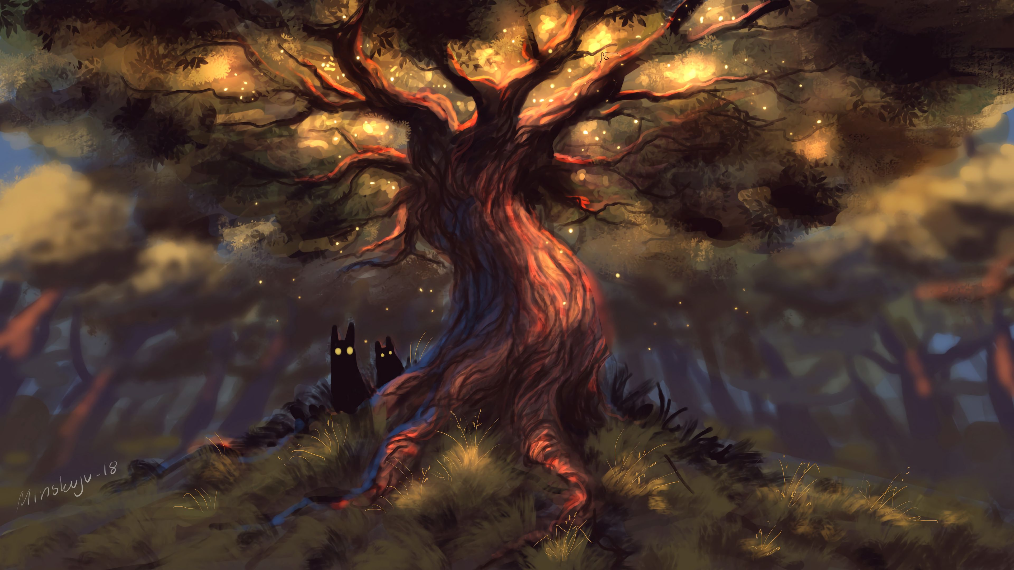 64363 download wallpaper Art, Creatures, Fairy, Fabulous, Forest, Wood, Tree, Dark, Eyes screensavers and pictures for free