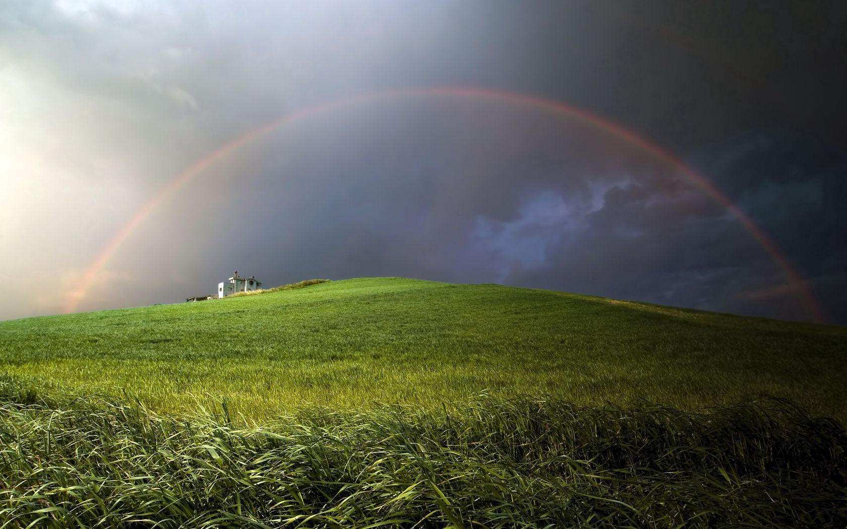 128743 descargar fondo de pantalla Naturaleza, Arco Iris, Nubes, Cerro, Loma, Principalmente Nublado, Nublado, Prado: protectores de pantalla e imágenes gratis