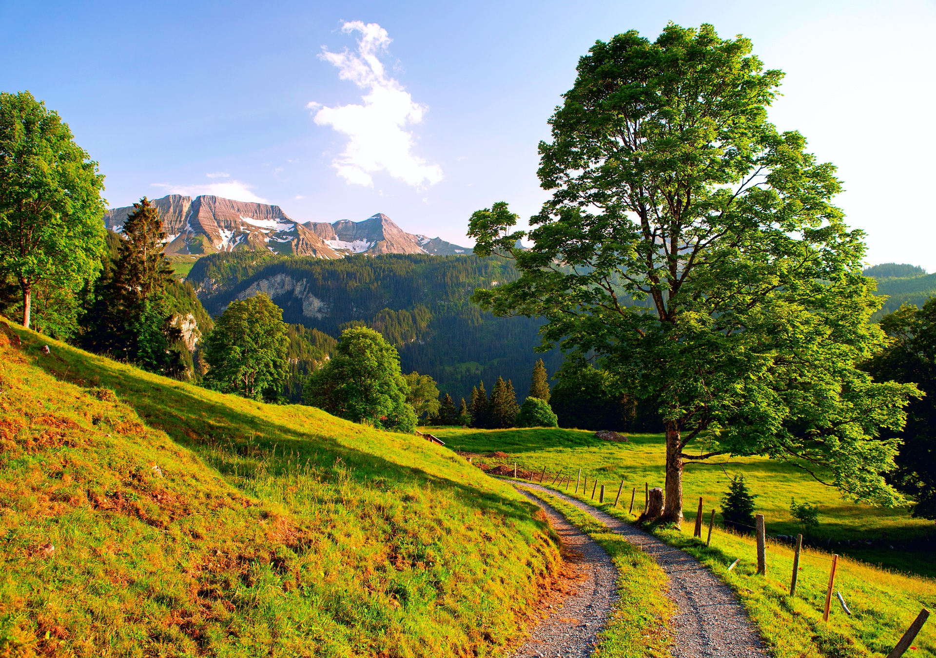 94232 Screensavers and Wallpapers Summer for phone. Download Mountains, Nature, Summer, Road, Alps, Switzerland pictures for free