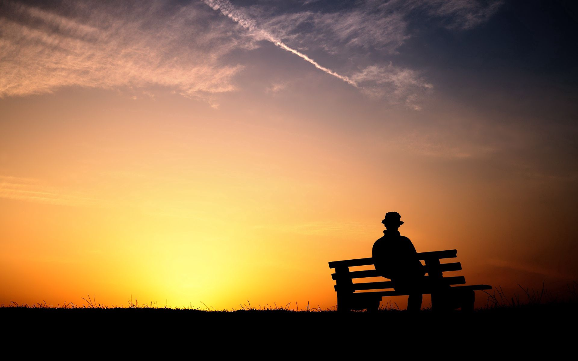 125967 Screensavers and Wallpapers Bench for phone. Download Loneliness, Sunset, Dark, Human, Person, Bench pictures for free