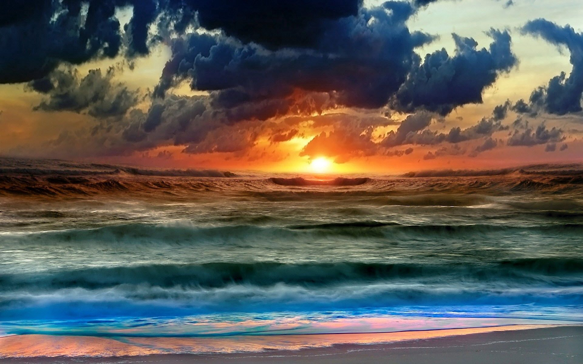 120912 Screensavers and Wallpapers Colors for phone. Download Colors, Nature, Water, Sunset, Sky, Sea, Sun, Clouds, Waves, Color pictures for free
