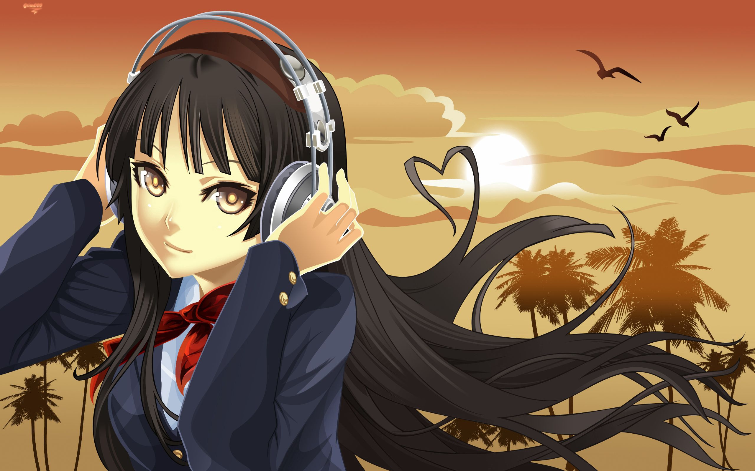 104679 Screensavers and Wallpapers Brunette for phone. Download Music, Anime, Sunset, Headphones, Girl, Brunette pictures for free