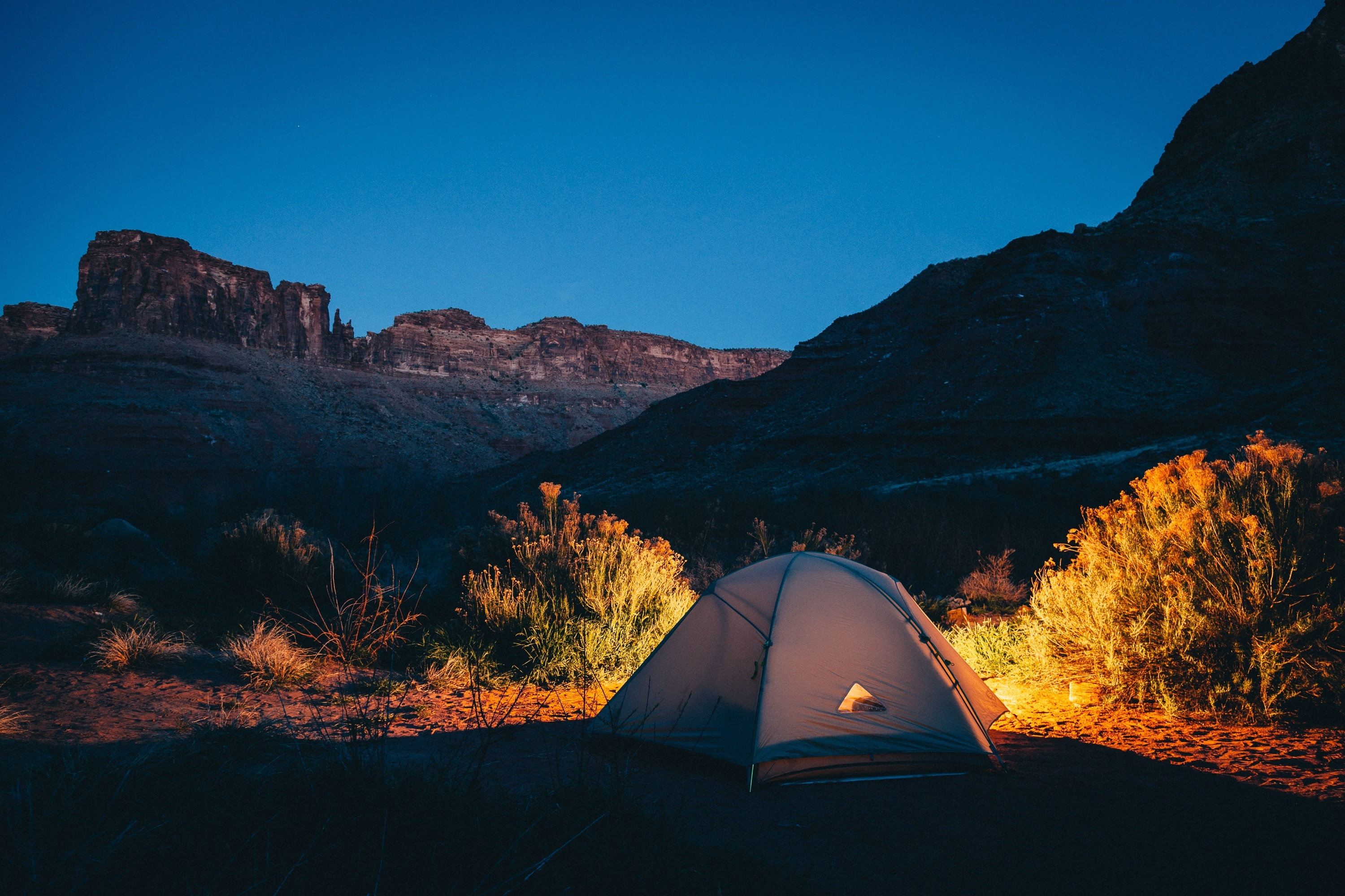 99120 download wallpaper Nature, Sunset, Mountains, Tent, Camping, Campsite screensavers and pictures for free