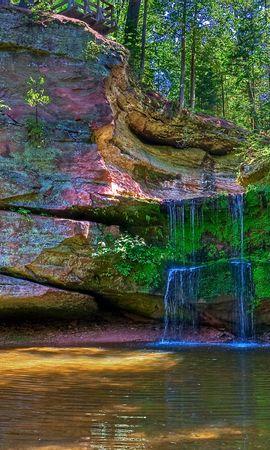 97272 Заставки и Обои Река на телефон. Скачать Природа, Водопад, Река, Разноцветный, Камни картинки бесплатно