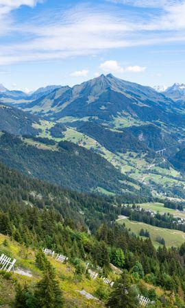 153551 скачать обои Природа, Долина, Поселок, Горы, Пейзаж - заставки и картинки бесплатно
