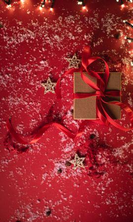 109797 скачать обои Праздники, Подарок, Коробка, Лента, Снег, Праздник, Звезды - заставки и картинки бесплатно