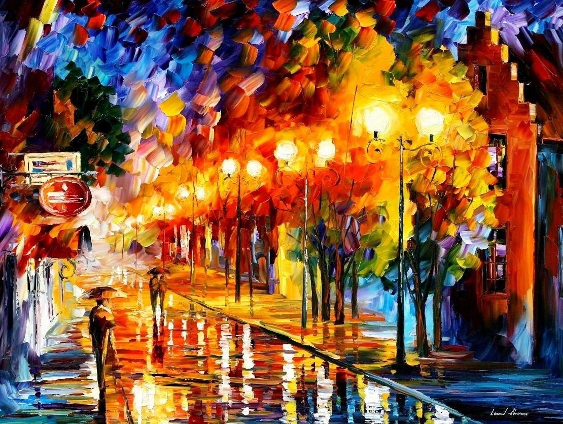 20866 скачать обои Рисунки, Пейзаж, Дождь, Ночь - заставки и картинки бесплатно