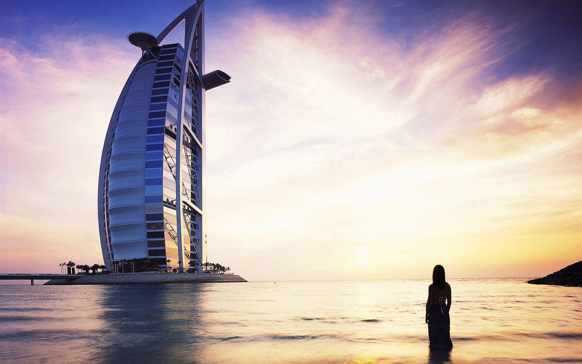 130799 free wallpaper 2160x3840 for phone, download images Cities, Silhouette, Dubai, Girl, Burj Al-Arab, Burj Al Arab 2160x3840 for mobile
