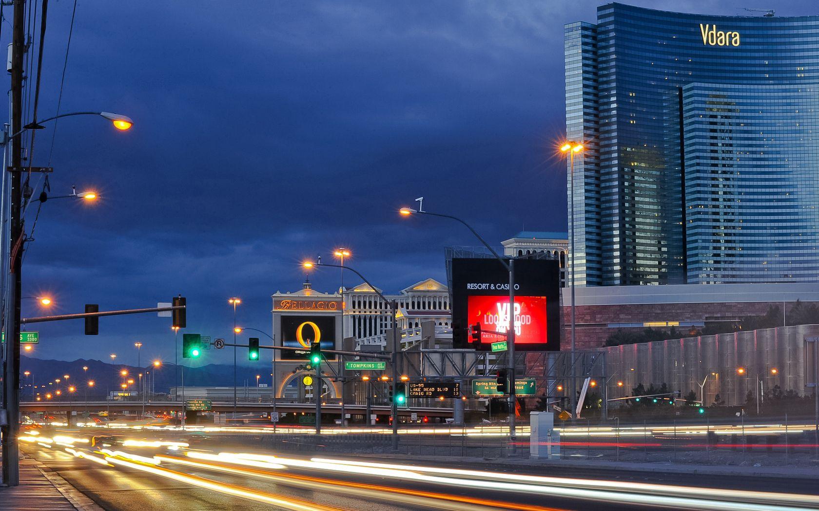 70365 скачать обои Лас Вегас (Las Vegas), Невада, Ночь, Дорога, Города - заставки и картинки бесплатно