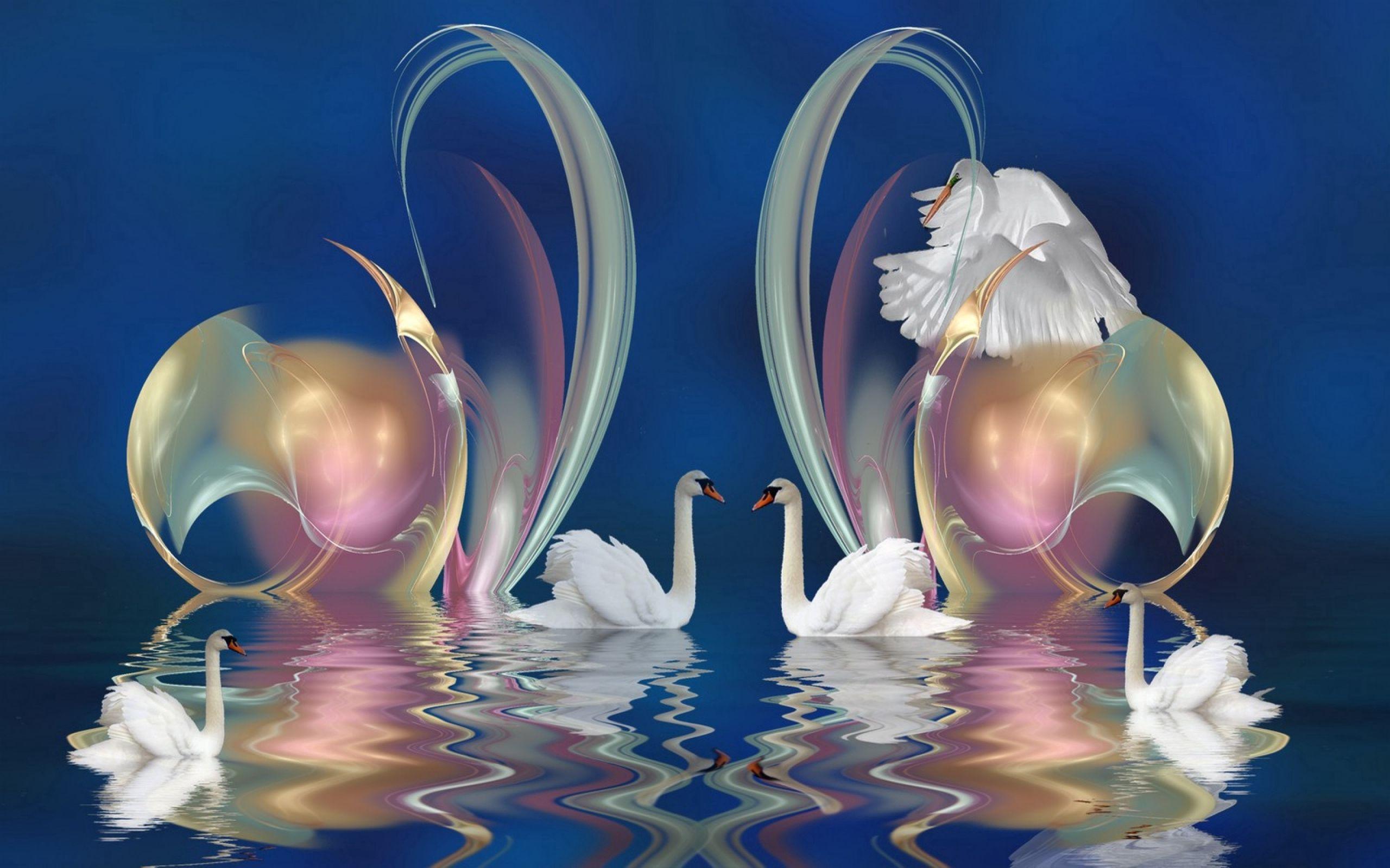 98911 Hintergrundbild herunterladen Patterns, Abstrakt, Swans, Schwimmen, Hübsch, Es Ist Wunderschön - Bildschirmschoner und Bilder kostenlos