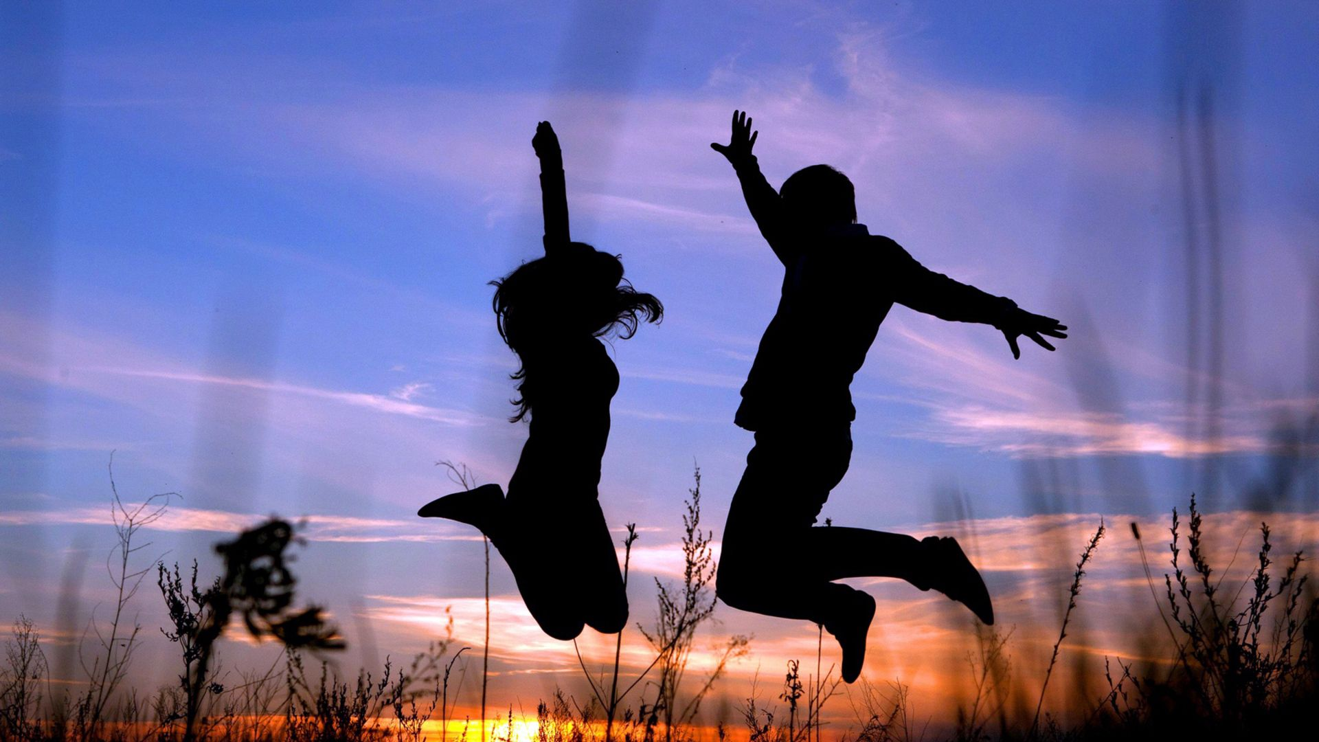 133637 Screensavers and Wallpapers Couple for phone. Download Grass, Night, Dark, Silhouette, Couple, Pair, Shadow, Bounce, Jump pictures for free
