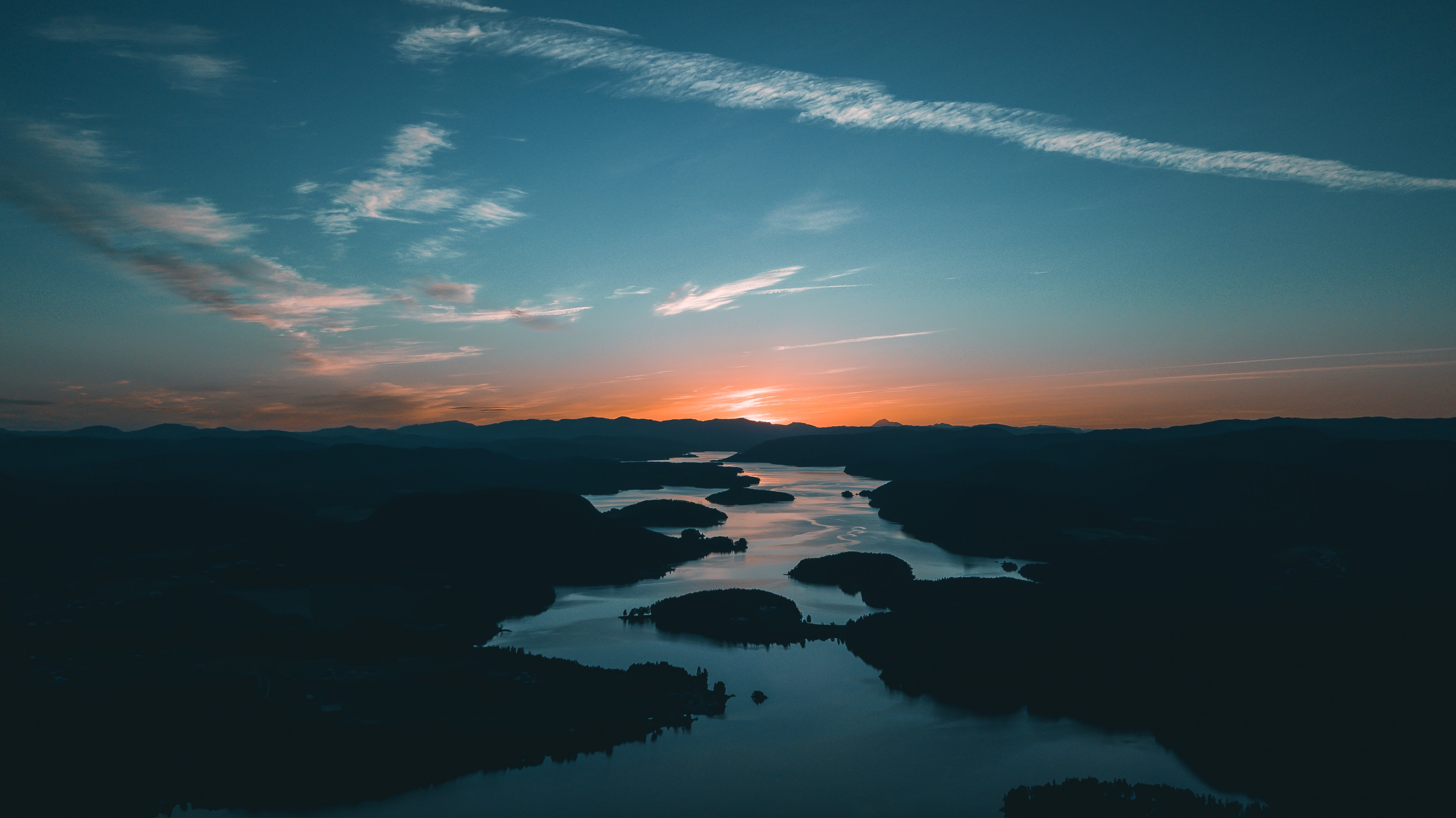 105543 download wallpaper Mountains, Nature, Rivers, Sunset screensavers and pictures for free