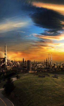 22872 скачать обои Пейзаж, Города, Фэнтези, Закат, Дороги, Облака - заставки и картинки бесплатно
