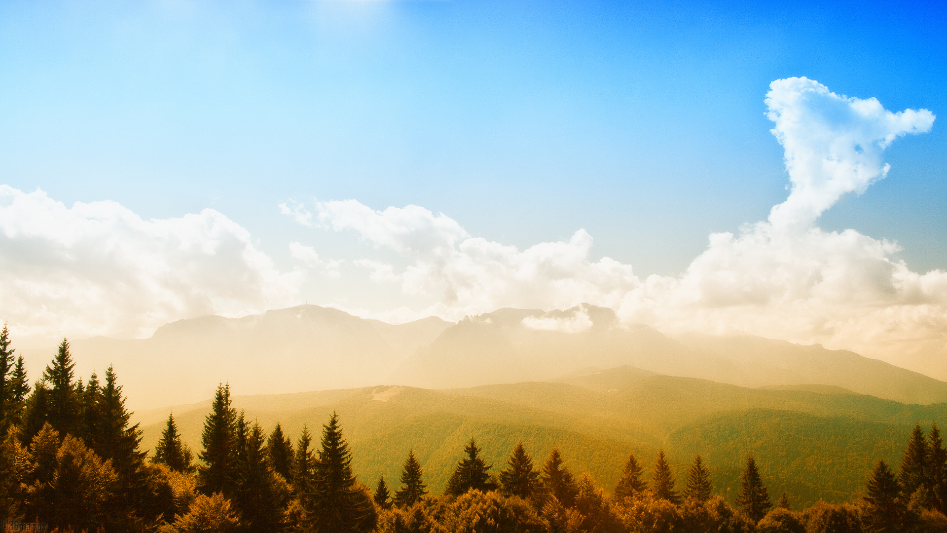 26168 download wallpaper Landscape, Sky, Mountains, Sun, Clouds screensavers and pictures for free