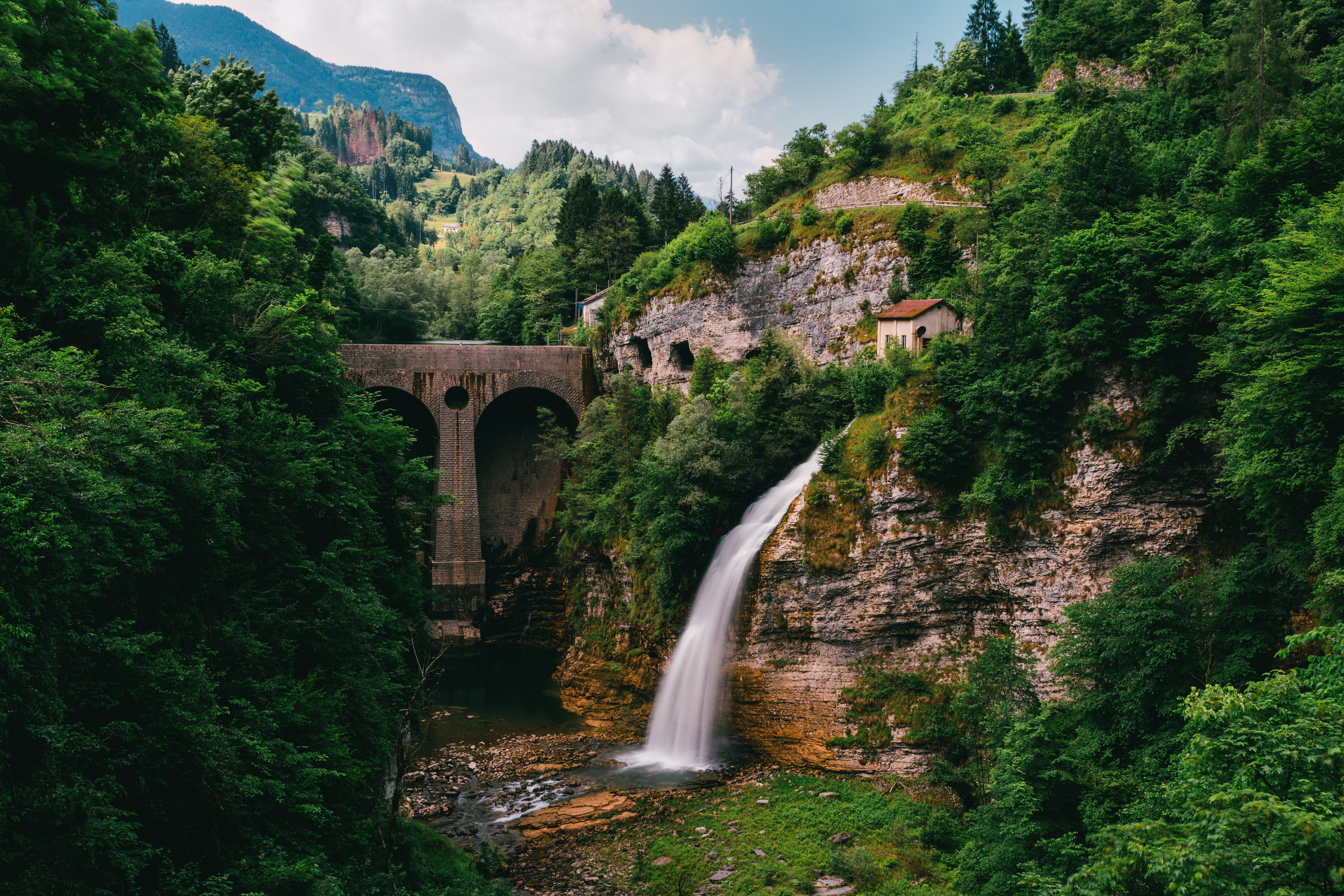 108128 Screensavers and Wallpapers Bridge for phone. Download Nature, Trees, Waterfall, Break, Precipice, Flow, Bridge pictures for free